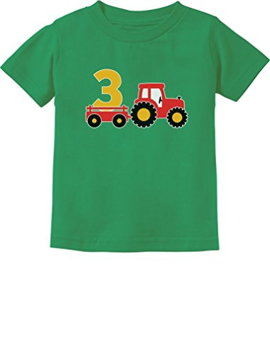 3rd Birthday Gift Construction Party 3 Year Old Boy Toddler/Infant Kids T-Shirt 3T Green