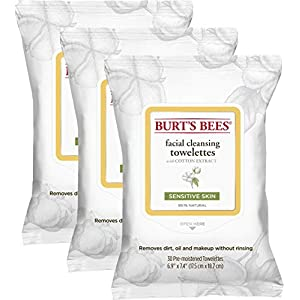 Best Epic Trends 41yhb6PmVWL._SS300_ Burt's Bees Sensitive Facial Cleansing Towelettes with Cotton Extract for Sensitive Skin - 30 Count (Pack of 3)
