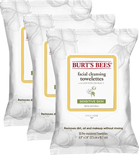Burt's Bees Sensitive Facial Cleansing Towelettes with Cotton Extract for Sensitive Skin – 30 Count (Pack of 3)