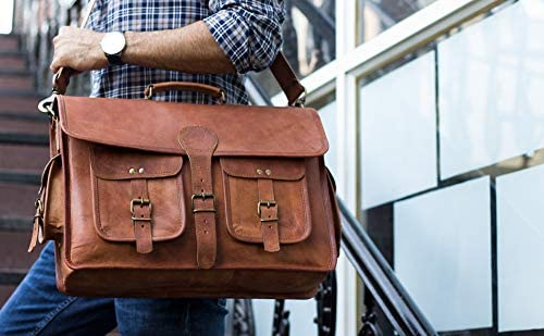 KPL 18 INCH Leather Briefcase Laptop Messenger bag best possible pc satchel Handmade Bags for males