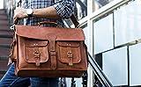 KPL 18 INCH Leather Briefcase Laptop Messenger bag