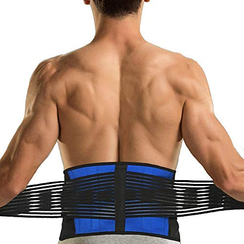 Fittoo Back Brace with Double Banded Mesh Compression Pull Straps, Adjustable & Breathable Back Lumbar Support Belt Protector for Lower Back Pain, Gym, Posture,Weight Lifting, Work,Injury Prevent-XXL