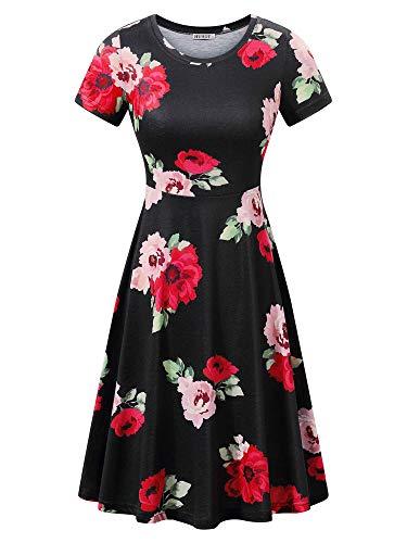HUHOT Women Plus Size Skater Dresses with Floral Blue Prints Flower-27 XX-Large (Skater Size Plus Women Dress)