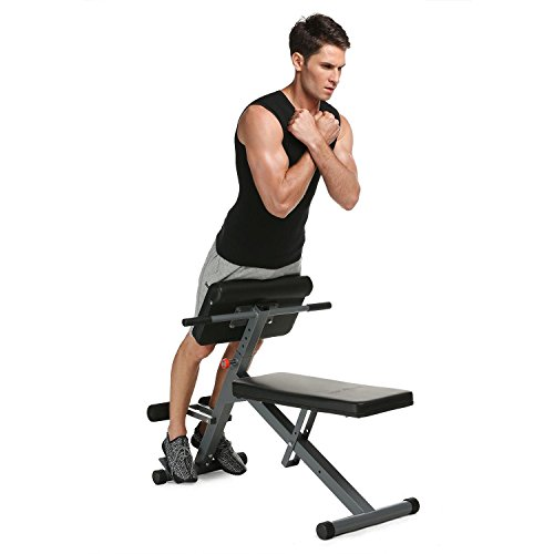 Mewalker Health Fitness Abdominal Bench 4-in-1 Workout Ab Bench, Adjustable Back Hyper Extension Exercise Pro Ab/Hyper Bench by Mewalker