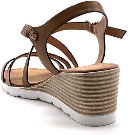 Chaussure Mode Sandale Espadrille Vintage//r/étro Plateforme de Plage Femme Frange Rayures Traits avec de la Paille Talon Plateforme 10 CM Angkorly