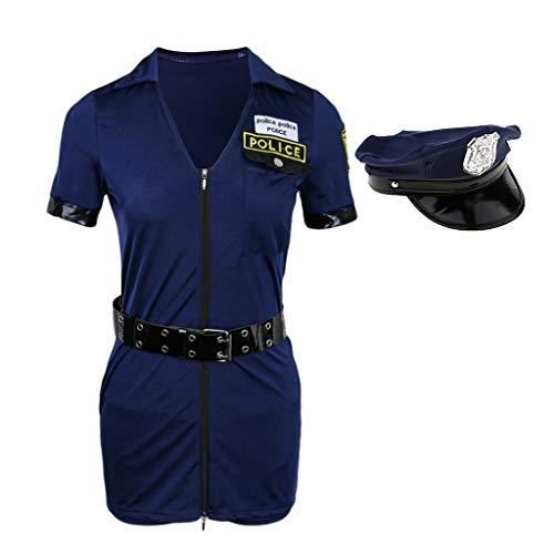 Traje De Mujeres Uniforme Policía Oficial Cosplay Magideal Poli de armada Trajes Halloween Mameluco Bw6qxnAH