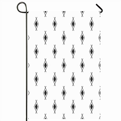 """Ahawoso Outdoor Garden Flags 12""""x18"""" Inch Ethnic Geometric Black White Navajo Aztec Abstract Triangle Pattern Stripe Peru Tribal Vertical Double Sided Home Decorative House Yard Sign"""