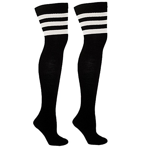 Thigh High Socks with Stripes | Over the Knee Socks For Costumes | Made In USA (Adult Fionna Costumes)