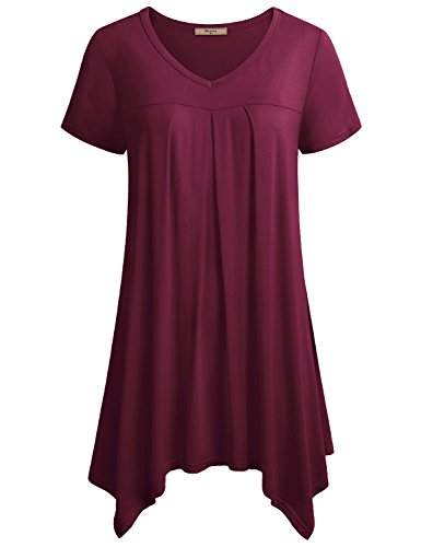 Miusey Loose Fitting Top, Womens V Neck Short Sleeve Shirts Pleats Handkerchief Hem Tunic to Wear with Leggings Loose Fit Irregular Hem Flowy Flare Dressy Tees M Wine