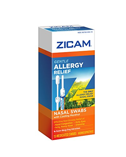 Zicam Allergy Relief Swabs, 15 Count, homeopathic relief of sneezing, runny nose, itchy eyes and nasal congestion for adults