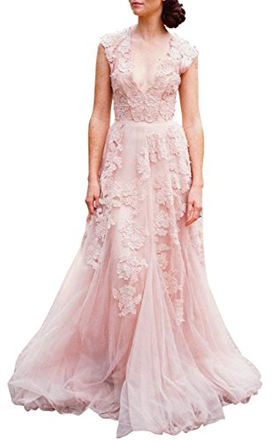 ASA Bridal Women's Vintage Cap Sleeve Lace A Line Wedding Dresses Bridal Gowns Pink 12