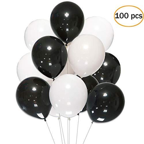12 Inch White Black Balloons,100 pcs 12