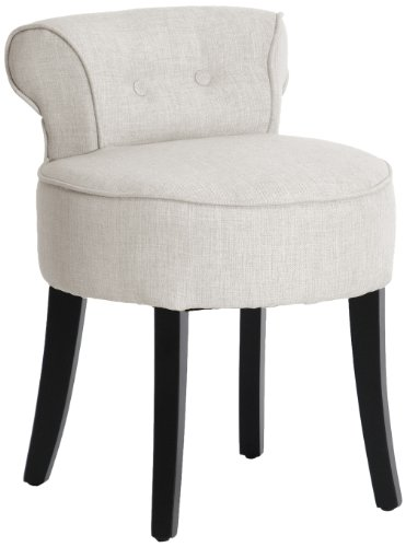Baxton Studio Millani Linen Modern Lounge Stool, Beige - Small Upholstered Chair