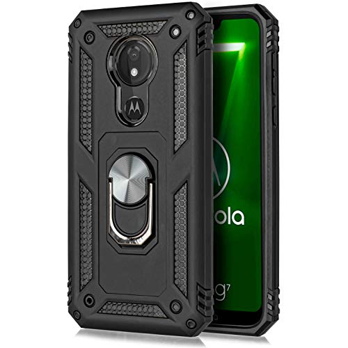 for Motorola Moto G7 Power Case Drop Protection Rotating Ring Kickstand Holder Magnetic Car Mount Armor Shockproof Cover with Tempered Glass Screen (Black)