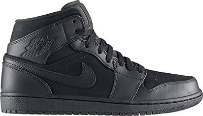 Jordan Nike Air 1 Mid Mens Basketball Shoes 554724-011 Black 10.5 M US