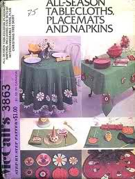 Mccall's Pattern 3863 Tablecloths-placemats-napkins All Season (Placemat Mccalls)