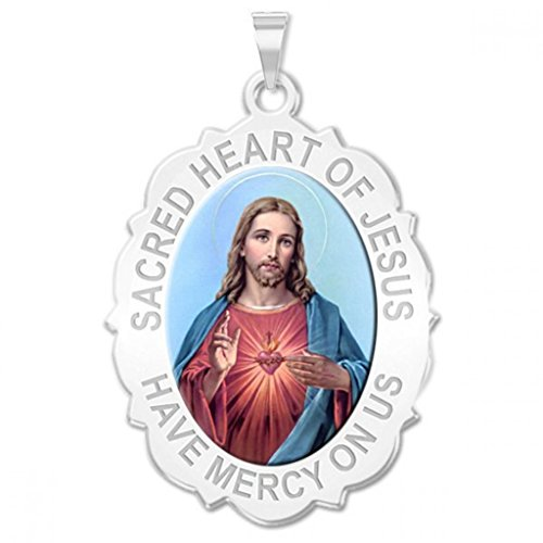 PicturesOnGold.com Sacred Heart of Jesus Scalloped Religious Medal Color - 2/3 X 3/4 Inch Size of Nickel, Sterling Silver ()
