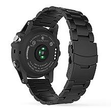 Garmin Fenix 3 Watch Band, MoKo Universal Stainless Steel Watch Band Strap Bracelet for Fenix 3 / Fenix 3 HR / Fenix 5X Smart Watch, Watch Not Included - BLACK