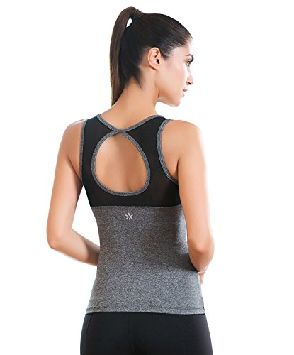 Move With You Womens Large Circle Cutout Mesh Yoga Tank Tops With Built-in bra, Grey - S