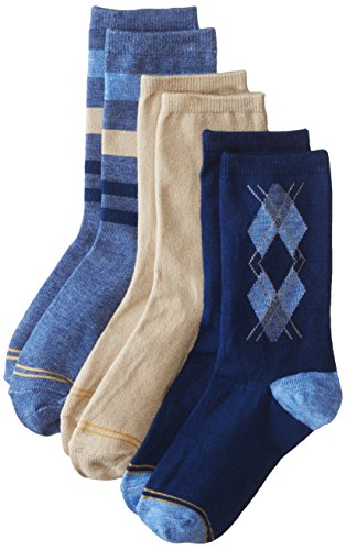 Gold Toe Big Boys' 3 Pack Fashion Dress Crew, Stripe Denim/Khaki/Navy Argyle, Large