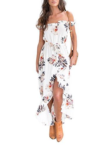 L'été Des Femmes Simplee Vêtements Hors Robe Maxi Longue En Mousseline De Soie Épaule Blanche