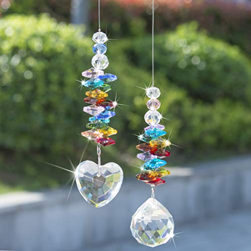 - H&D HYALINE & DORA Hanging Crystal Suncatcher Rainbow Maker with Heart Prism Pendant and Crystal Prism Ball and Chakra Colored Beads,for Window Decor,Pack of 2