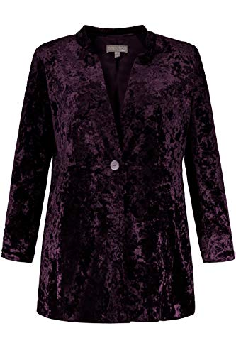 (Ulla Popken Women's Plus Size Crushed Velvet Stretch Blazer BlackBerry 20 718887 80)