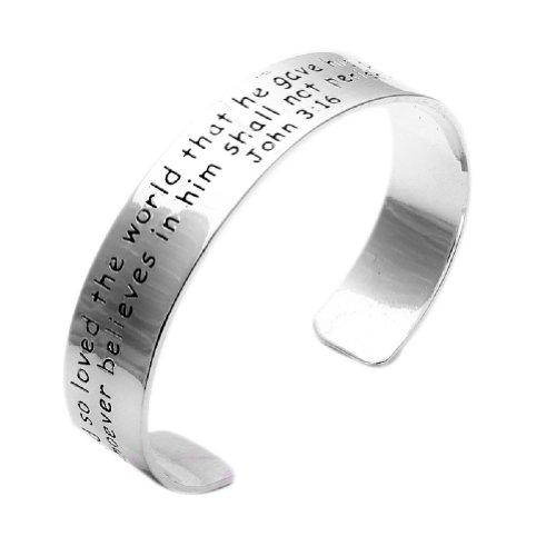 Qiyun Silver Tone Engraved Bible Word Cuff Bangle Religious Bracelet John 3:16