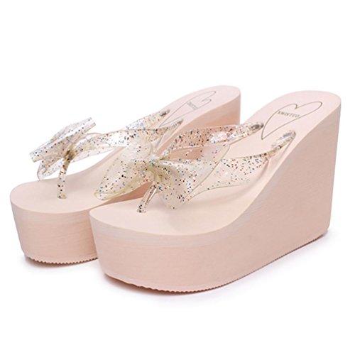 SHANGXIAN individualidad de las mujeres panecillo inferior gruesa corteza de tacón alto de la cuña de la sandalia Pink