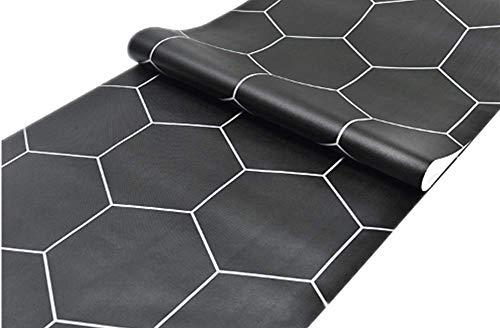 Self Adhesive Black Hexagon Contact Paper Wallpaper Shelf Liner Dresser Drawer Cabinet Bathroom Floor Sticker 24inch by 118inch