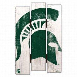 WinCraft NCAA Michigan State University Wood Fence Sign, Black