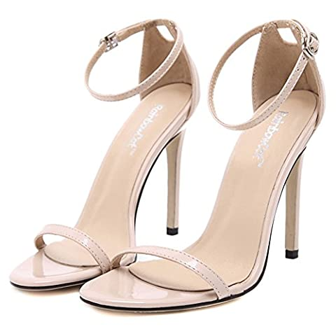 Summerwhisper Women's Sexy High Heels Open Toe Ankle Strap Dress Shoes Stiletto High Heel Patent Sandals Beige 8 B(M) - Patent Strappy Stiletto Heel