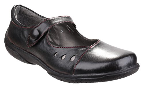 Amblers Ladies Lambeth Strap Fastening Leather Casual Shoe Black Black