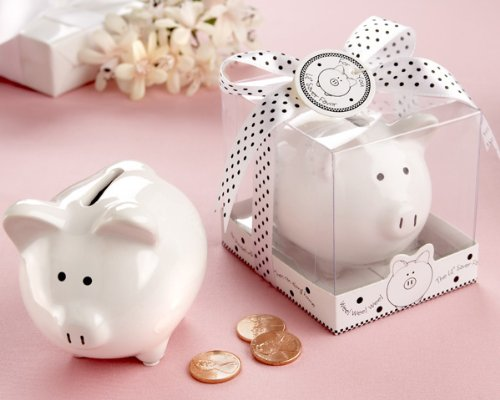 ''Li'l Saver Favor'' Ceramic Mini-Piggy Bank in Gift Box with Polka-Dot Bow - Baby Shower Gifts & Wedding Favors (Set of 48)