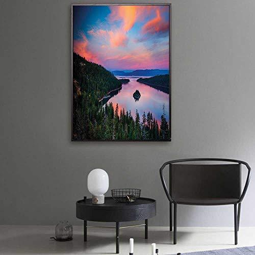 oth California Photography Rustic Themes Sundown Time Freshwater Sierra Nevada Lake Canvas Art Wall Decor 40
