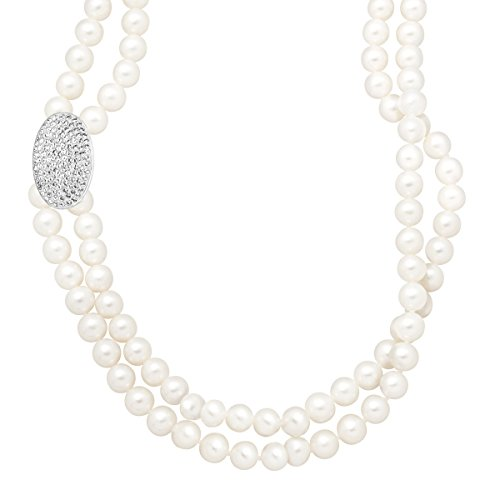 Crystaluxe 6-6.5 mm Freshwater Cultured Pearl Double Strand Necklace with Swarovski Crystals in Sterling Silver