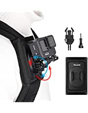 360 Rotation Backpack Mount, TELESIN Shoulder Strap Clip Mount with Adjustable Pad J Hook Bag Holder Attachment for GoPro Max Hero 10 9 8 7 6 5, Osmo Action, Insta 360 One R Go 2