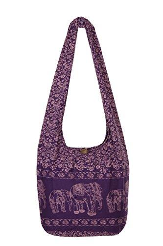 diseño nbsp;playa bolsa mano bolsa hippy Thai de nbsp;– de elefante Gypsy nbsp;100 nbsp;– algodón de morado bolso viaje hombro Boho Sling qITwxA