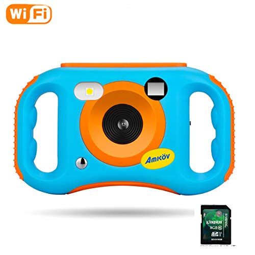 Amkov WiFi Kids Camera with 8G SD Card Digital Camera with WiFi for Kids Children Creative Digital Camera, 5Mp 1.77 Inch TFT Display Video Recording(Blue)