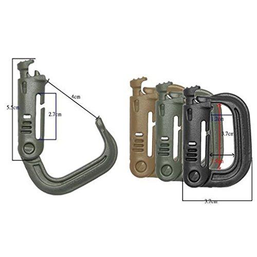 Befaith Nylon Tactical Karabiner Quickdraw Bergsteigen Wölbung D Ring Snap Clip Haken (Farbe zufällig)
