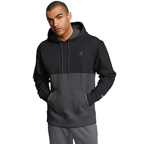 Champion Mens Graphic Powerblend Fleece Hood (X-Large, Colorblock Black/Granite Heather)