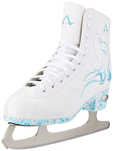 American Athletic Shoe Women's Sumilon Lined Figure Skates with Turquoise Outsole, White, 8
