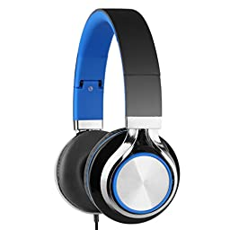 Intone Ms200 Stereo Low Bass Folding and Adjustable Headphone Earbuds - Black / Blue