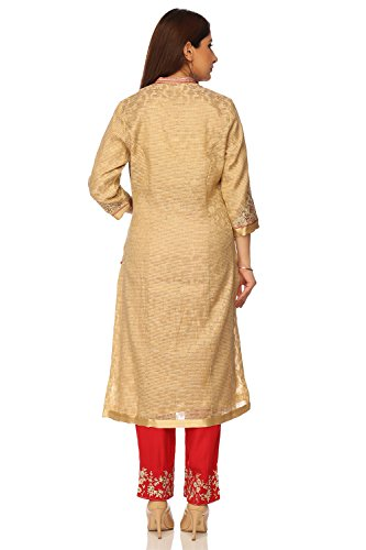 BIBA Women's Front Open Poly Cotton Suit Set 42 Beige by Biba (Image #4)