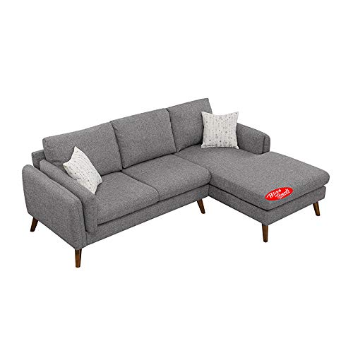 Sectional Sofa Set with Chaise Modern Design Cotton Blend 2-Piece (Gray) 2019 Updated Model by Bliss Brands (Best Sectional Brands 2019)