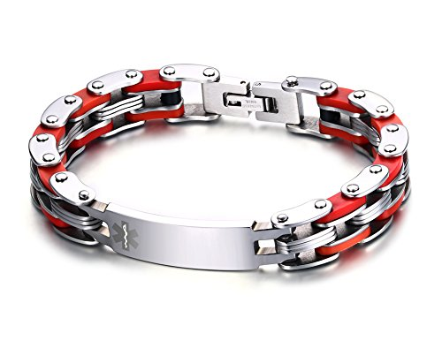 Chain Childrens Id Bracelet - Free Engraving-Stainless Steel Medical Alert ID Tag Bicycle Bike Chain Identification Bracelet,Red,8