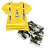 Lavany Toddler Boys Clothes 2pc Short Sleeve Print Tops+Como Shorts Casual Outfits Yellow