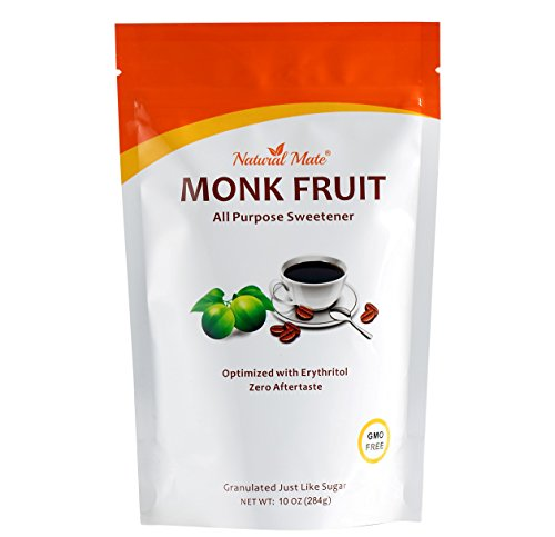Natural Mate Monkfruit Sweetener with Erythritol (10oz) 1Pack - All Purpose Granular Natural Sugar Substitute - 2:1 Sugar Replacement, Non-GMO, Zero Calories