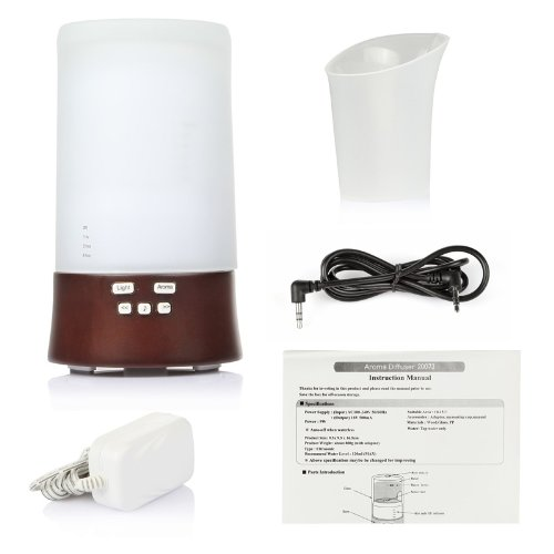 Lagute Bois LG-B16 All-in-one Wooden Aroma Diffuser Aromatherapy Air Humidifier + Color Changing Mood Light + Sound Machine + Speaker Music Player for MP3 MP4 Smartphone