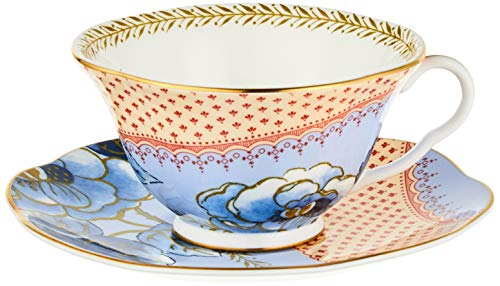 Wedgwood Butterfly Bloom Teacup & Saucer Set Blue Peony teacup and saucer, 2 Piece